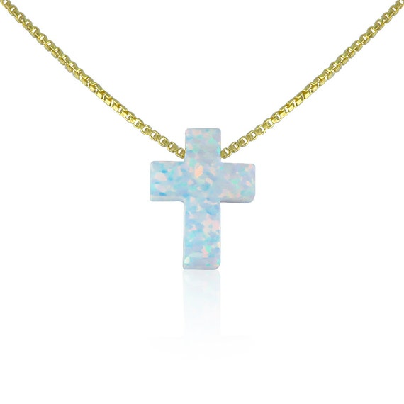 cross opal necklace 100% Real sterling silver chain white opal cross, MEGA SALE!