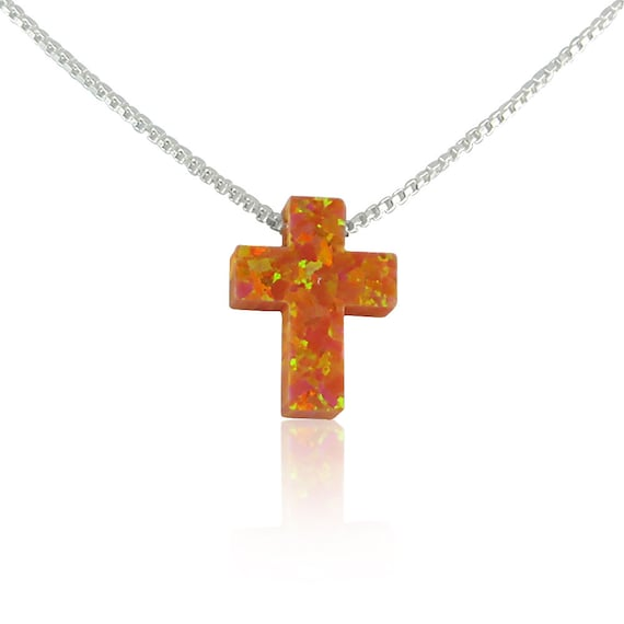 opal cross necklace orange