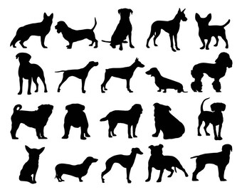 Dog Clipart, Puppy Silhouette Clipart, Hound Clipart, Pug Clipart, Pet Clipart, Doggie Clipart, Dog Clipart, Dog Breeds Silhouette, Breeds