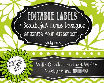 Editable Labels - Lovely Lime with Chalkboard - 7 Designs
