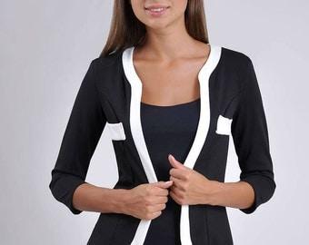 Black white jacket, office jacket, everyday jacket, woman jacket.
