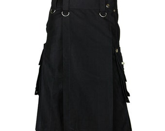 Custom made Black Utility Fabric Kilt, Utility Kilt