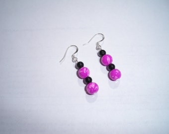 Pair of sterling silver fishhook earrings with hot pink and black beads
