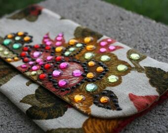 Jeweled Clutch Purse medium biege floral