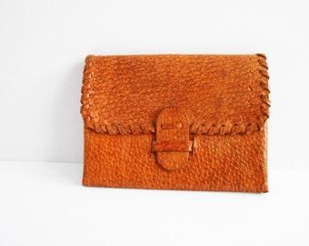 Vintage leather brown purse, Handmade portfolio, Folding billfold, Luxury gift, Vintage leather folder, Small wallet, coin purse