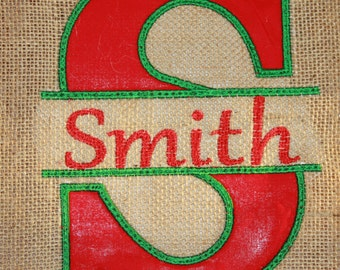 Personalized Burlap Christmas Tree Skirt. with Inital Split by Name