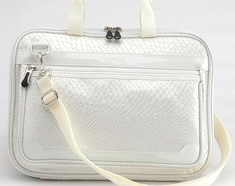 Metallic Snake 12 Inch New MacBook Laptop Bag / Laptop Shoulder Bag/ Detachable Shoulder Strap/ Padded Laptop Bag - Ivory