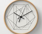 Wall Clock with Geometric Hexagon Print
