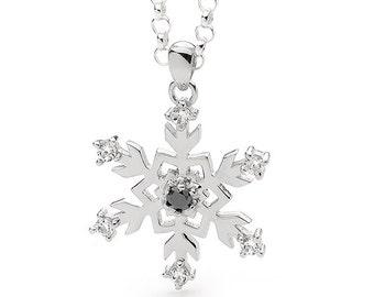 Sterling Silver Black Diamond Snowflake Pendant Necklace
