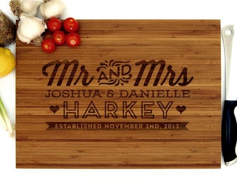 Personalized Cutting Board, Wedding Gift, Mr and Mrs Monogram, Housewarming Gift, Engagement Gift, Bride and Groom, Christmas Gift