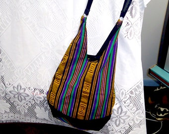 Striped African print medium shoulder bag ON SALE