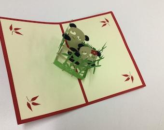 Panda pop up card, blank