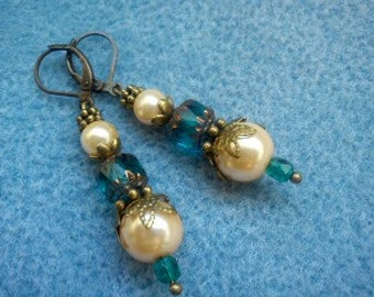 Vintage Inspired Blue Crystal and Pearl Earrings.