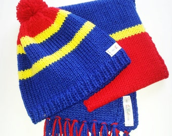 Set of Barcelona Team Light colors Knit Boy's Scarf and Hat with Pompom