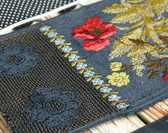Antique Ribbon sample collection Black, silver, floral & ivory PLUS antique rare jet appliqué, textile art, costume design, scrapbooking