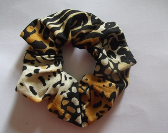 Animal Print hair scrunchie, cotton hair scrunchie, pony tail holder, chouchou