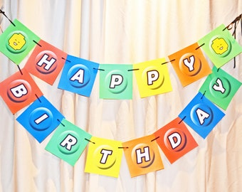 LEGO Inspired themed Happy Birthday Banner, Happy Birthday Banner Digital Download