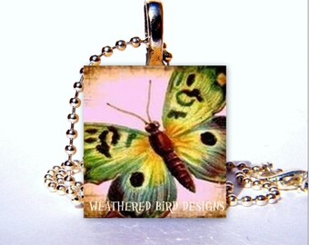 Scrabble Tile Pendant - Butterfly 002 - Free Chain