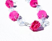 Pink Cotton Candy Upcycled Long Necklace