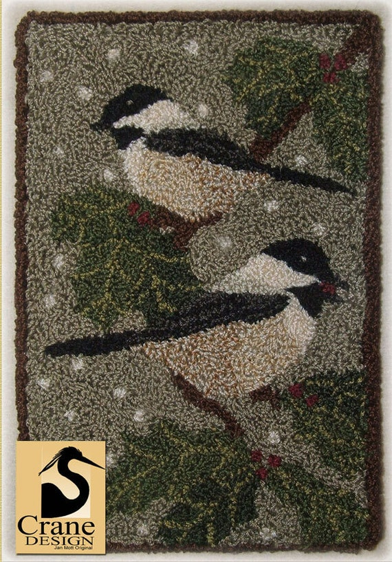 how to choose a rug for your living room black capped chickadee punchneedle pattern needle punch 28334