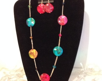 Multicolor long necklace with earrings