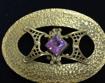 Vintage Hammered Gold Oval Buckle with Large Amethyst Colored Stone