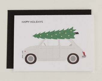 Happy holidays - classic Fiat 500 Christmas tree illustrated greeting card