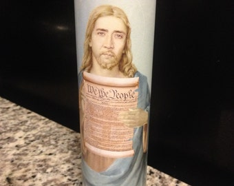 Nicolas Cage Funny Prayer Candle, National Treasure prayer Candle, Benjamin Gates Prayer Candle, Funny Religious Candle