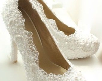 white lace high heels lace wedding shoes bling bridal
