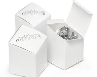 Prism White Silver Printed Mr. and Mrs. Wedding Favor Boxes (Pack of 25) Wedding Favors