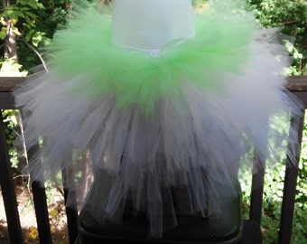 White, Pale Pink, and Lime Green Layered Tutu Skirt ~ Ready To Ship!