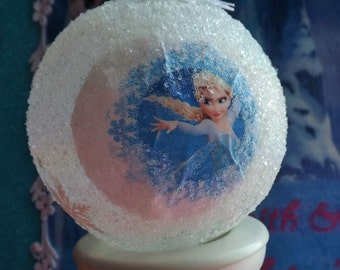 Disney Frozen Christmas Ornament- Elsa & Anna Glittered Snowflakes