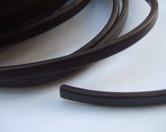 Dark Brown Licorice Leather , 10x6mm Thick Leather Cord P013