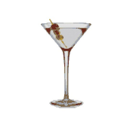 cross stitch pattern pdf martini instant download from. Black Bedroom Furniture Sets. Home Design Ideas