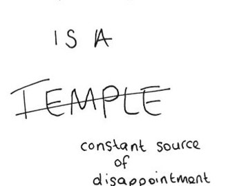 Eco friendly Postcard - 'My body is a temple/ constant source of disappointment'