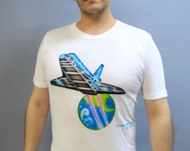 RARE Signed Air Brushed Tee Shirt, Vintage 80's Soft Cotton T, Space SHUTTLE COLUMBIA T-Shirt, size Medium