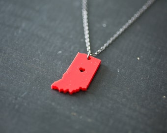 Indiana State Necklace - Red Indiana Necklace - IN State Necklace IN Map Fort Wayne State Charm IN Pendant Indiana State Map Jewelry