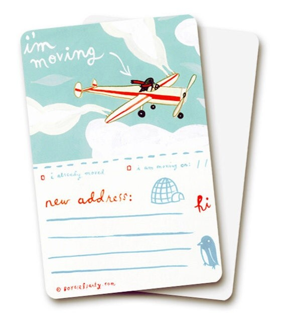MOVING CARDS / moving announcement cards / change of address cards - cute bird address cards - new address postcard - new home cards