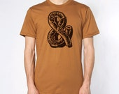 Rustic Ampersand Tee - Mens Hand Stenciled Crew Neck Graphic T-Shirt in Rust Brown and Black - XS S M L XL 2XL 3XL