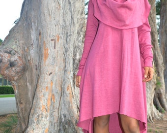 The Super Cowl Hi Lo Dress. Organic hemp jersey. Made to order.
