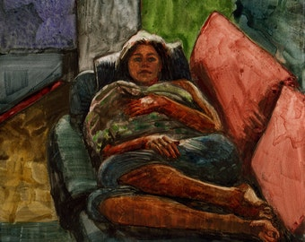Original Graphite and Watercolor Illustration Painting Art Girl on a Couch Waiting for the Coffee to Brew DelPesco