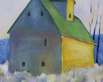 Farmhouse Art Print / Oil Painting Print / Barn with Green Roof /  Yellow and green barn / Barn art