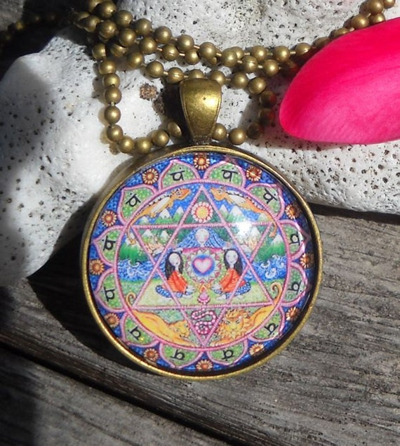 May The 4th Be With You Necklace: Heart Chakra Mandala Necklace Womens Gift Mandala Art 4th
