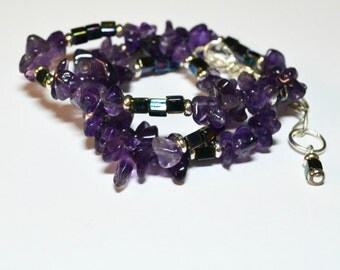Amethyst Necklace / Stone, Purple, Extender Chain