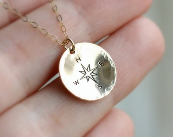 Compass Necklace, Traveler Necklace, Gold Compass Pendant, Graduation Gift, Not all who wander are lost, Long Distance, Journey, Best Friend