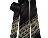 Ammunition neckie. Ammo bandolier silkscreened tie. Microfiber necktie. Antique brass print. Choose standard, narrow or skinny.