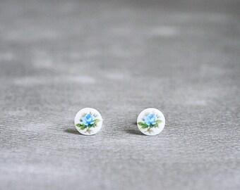 Hana Earrings - vintage light blue roses on sterling silver posts