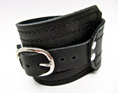 Black Leather Cuff, Unisex Buckle Wrap Adjustable Size, * SALE * Coupon Codes