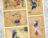 Birdy Postcards PRINTABLE DIGITAL Tags Scrapbooking Journals Embellishment Paper Crafts Cards