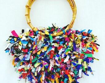 Crochet  Hand Bag Colorful OOAK  Tote Purse Shabby Chic color purse, shoulder bag, gifr under 50